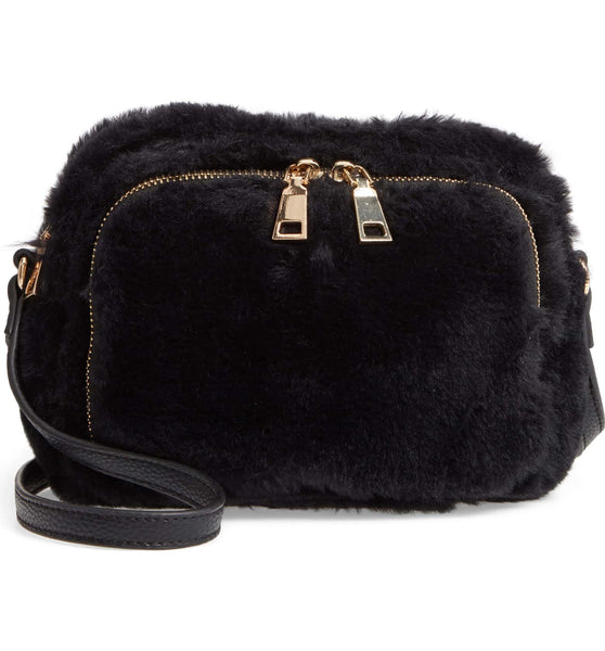 Cameron Fur Crossbody Bag - Black - Jules Kae Handbags and Accessories