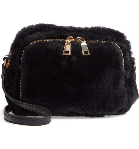 Cameron Faux Fur Crossbody Bag - Black - Jules Kae Handbags and Accessories