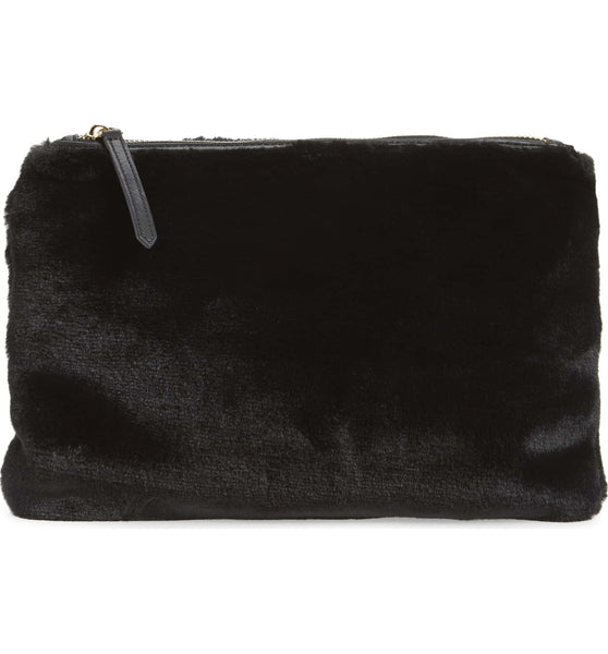 Jen Fur Pouch - Black - Jules Kae Handbags and Accessories