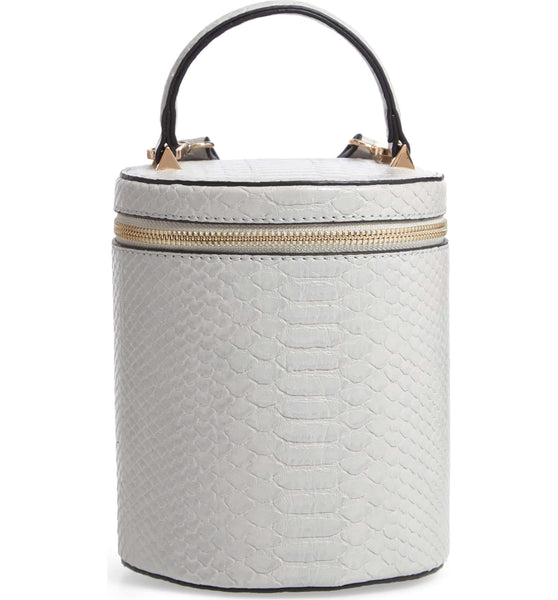 Marion Bucket Crossbody - Silver Snake - Jules Kae Handbags and Accessories