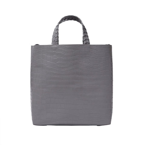 Charlotte Tote - Grey Crocodile - Jules Kae Handbags and Accessories