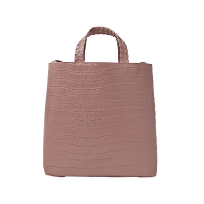 Charlotte Tote - Mauve Crocodile - Jules Kae Handbags and Accessories