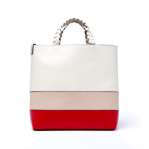 Charlotte Tote Blush Red Bone Genuine Leather - Jules Kae Handbags and Accessories