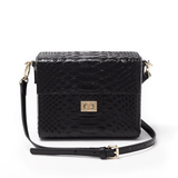 Chiara Boxy Crossbody - Black Snake - Jules Kae Handbags and Accessories