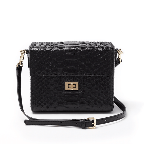 Chiara Boxy Crossbody Black Snake - Jules Kae Handbags and Accessories