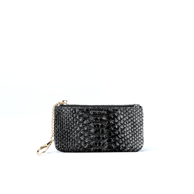 Kari Card Holder - Black Snake - Jules Kae Handbags and Accessories