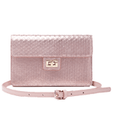 Emma Envelope Crossbody Rose Gold Snake Print Leather - Jules Kae Handbags and Accessories