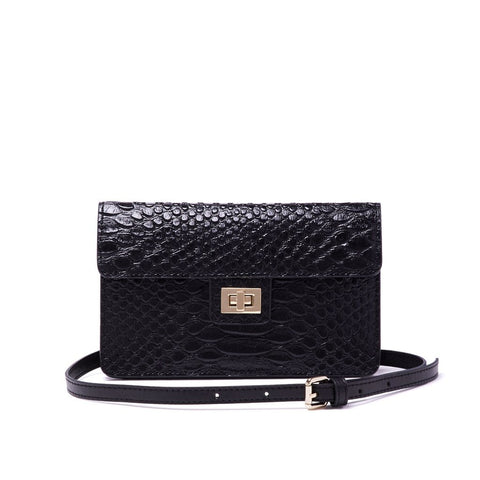 Emma Envelope Crossbody Black Snake - Jules Kae Handbags and Accessories