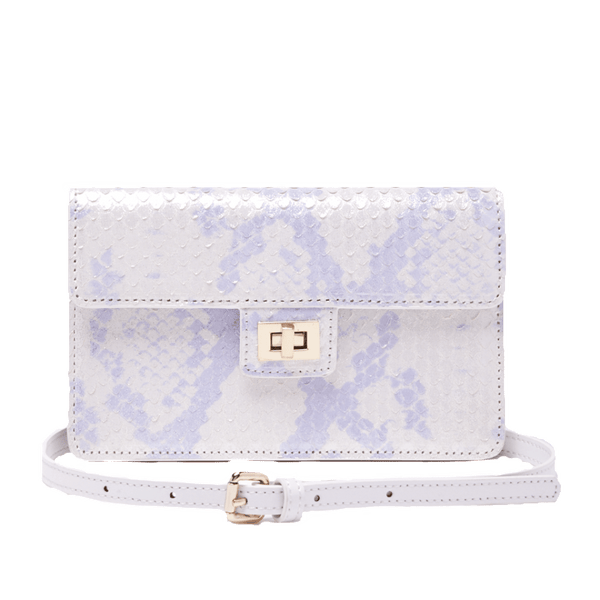 Emma Envelope Crossbody Silver Multi Snake Print Leather - Jules Kae Handbags and Accessories