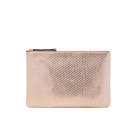 Jen Pouch Rose Gold Leather - Jules Kae Handbags and Accessories