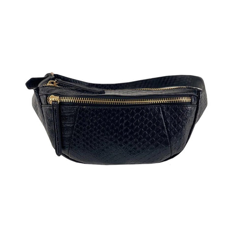 Jennifer Belt Bag - Black Snake - Jules Kae Handbags and Accessories