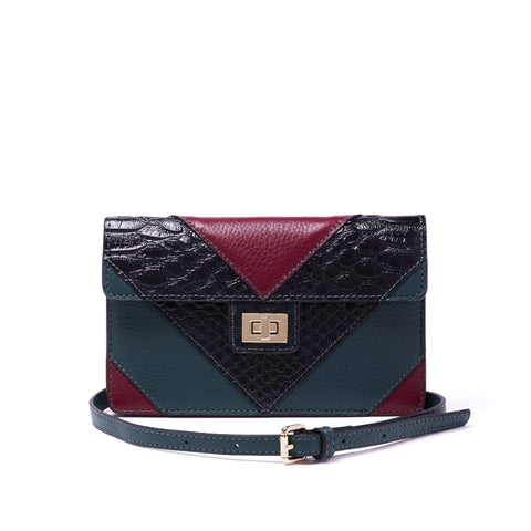 Emma Chevron Envelope Crossbody Deep Marine Black Snake and Oxblood - Jules Kae Handbags and Accessories