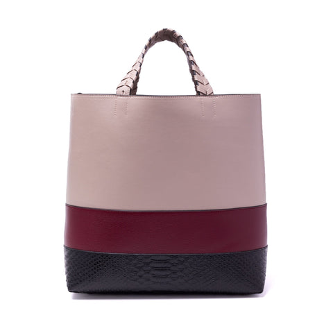 Charlotte Tote Dusty Nude Oxblood Black Embossed Snake Leather - Jules Kae Handbags and Accessories