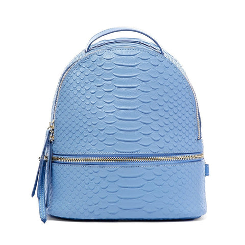 Kelly Small Backpack Denim Snake Print Leather - Jules Kae Handbags and Accessories