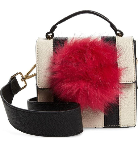 Mel Crossbody Black and White Stripe PU with Faux Fur Pom Pom - Jules Kae Handbags and Accessories
