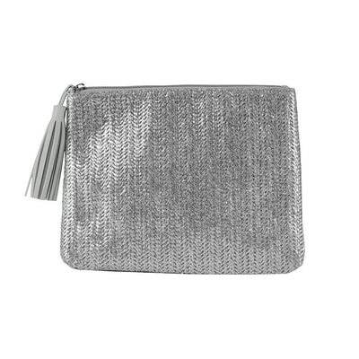 Jen Pouch - Silver Straw - Jules Kae Handbags and Accessories
