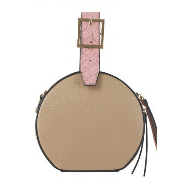 Athena Top Handle - Latte/Flamingo Snake - Jules Kae Handbags and Accessories