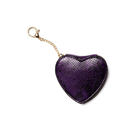 Darla Purple Snake Embossed Coin Purse Keychain