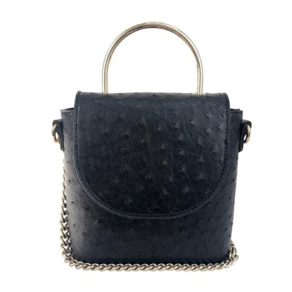 Cynthia Crossbody - Black Ostrich - Jules Kae Handbags and Accessories