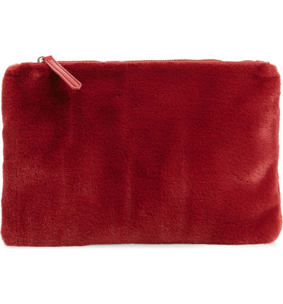 Jen Fur Pouch - Red Hibiscus - Jules Kae Handbags and Accessories