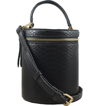 Marion Bucket Crossbody - Black Snake - Jules Kae Handbags and Accessories