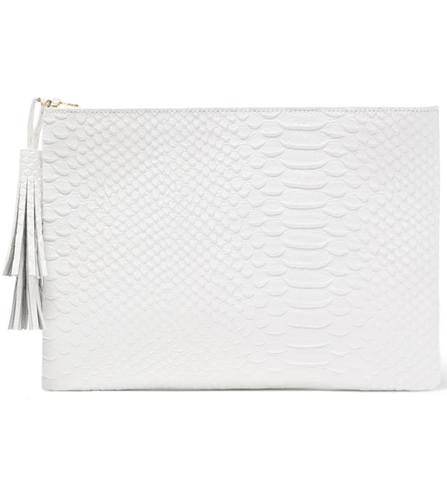 Jen Pouch - White Snake - Jules Kae Handbags and Accessories