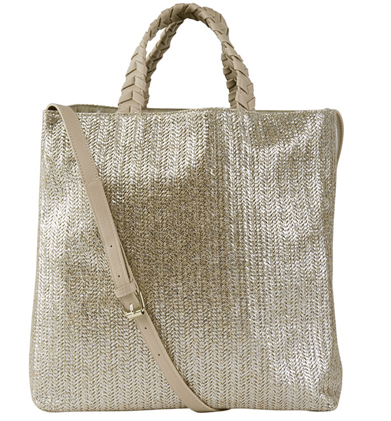 Charlotte Tote - Gold Straw/Blush - Jules Kae Handbags and Accessories