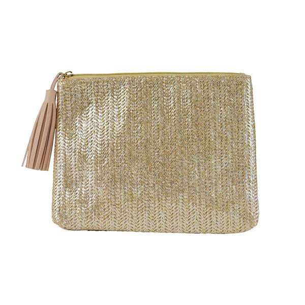 Jen Pouch - Gold Straw - Jules Kae Handbags and Accessories