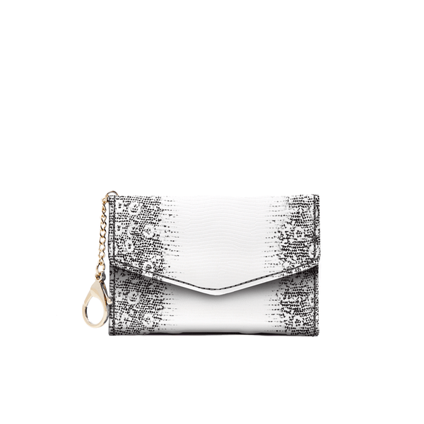 Meg Card Holder - Black & White Lizard - Jules Kae Handbags and Accessories