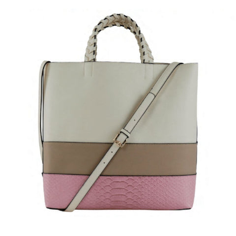 Charlotte Tote - Flamingo Snake/Latte/Cream - Jules Kae Handbags and Accessories