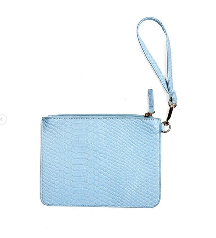 Jen Wristlet - Aqua Snake - Jules Kae Handbags and Accessories