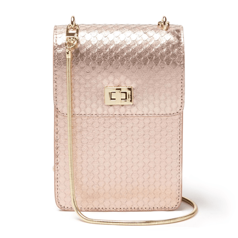 Ceci Cellphone Bag Rosegold Multi Snake - Jules Kae Handbags and Accessories
