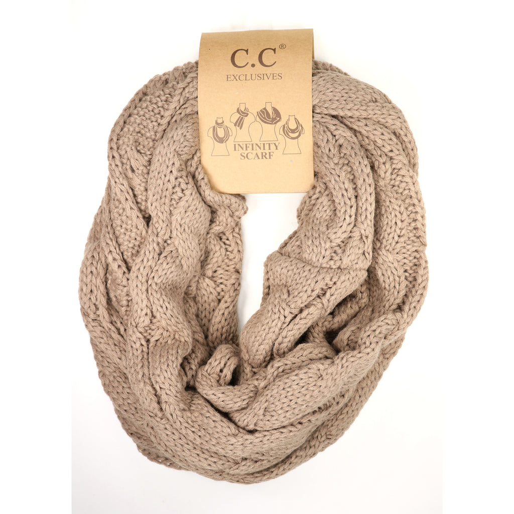 Cable Knit CC Infinity Scarf