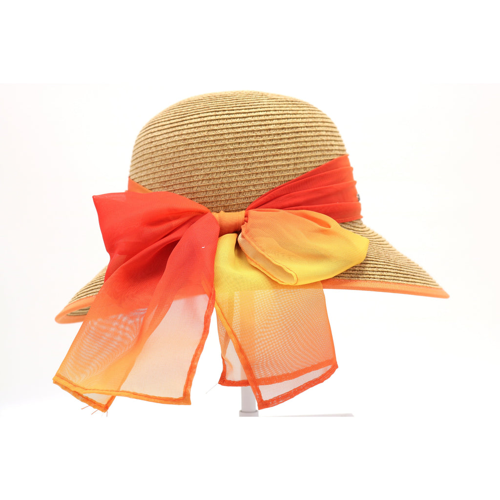Natural Paper Brim Hat with Ombre Chiffon Sash ST812