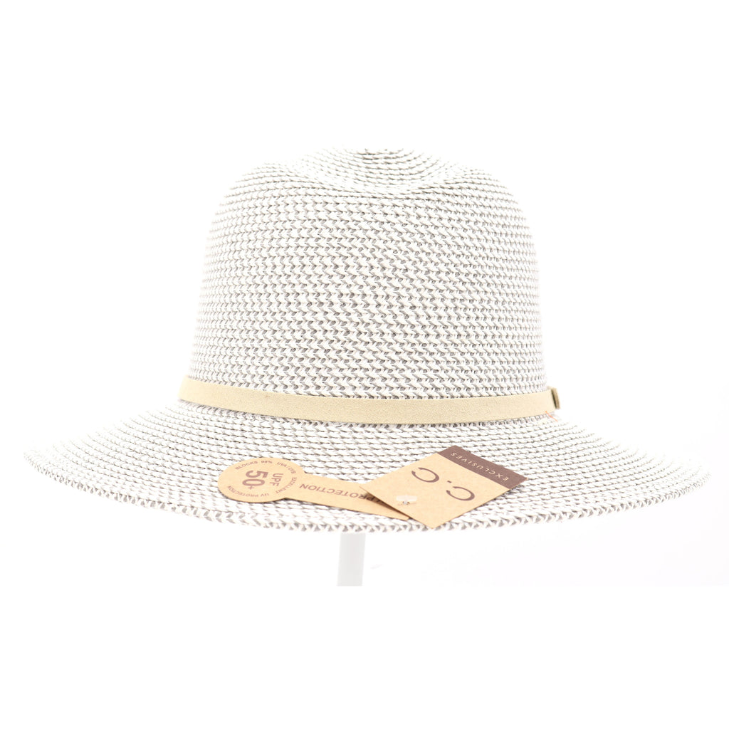 Two Tone Panama Hat with Suede Band Trim ST809