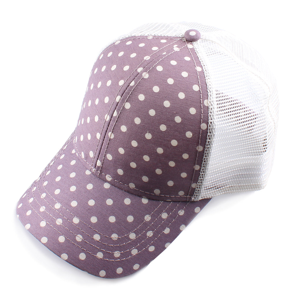 Polka Dot Mesh Back CC Ball Cap BA1007