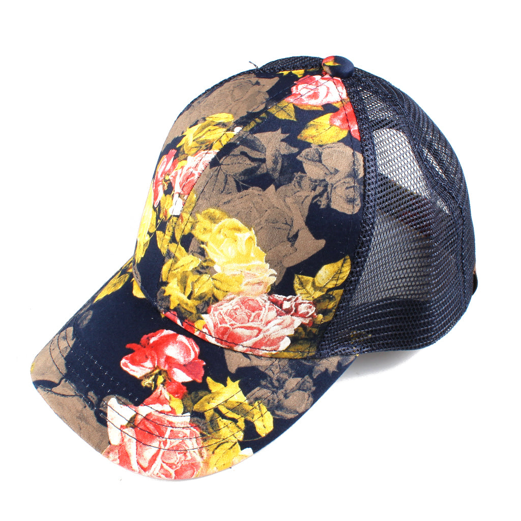 Cotton Rose Print Mesh Back CC Ball Cap