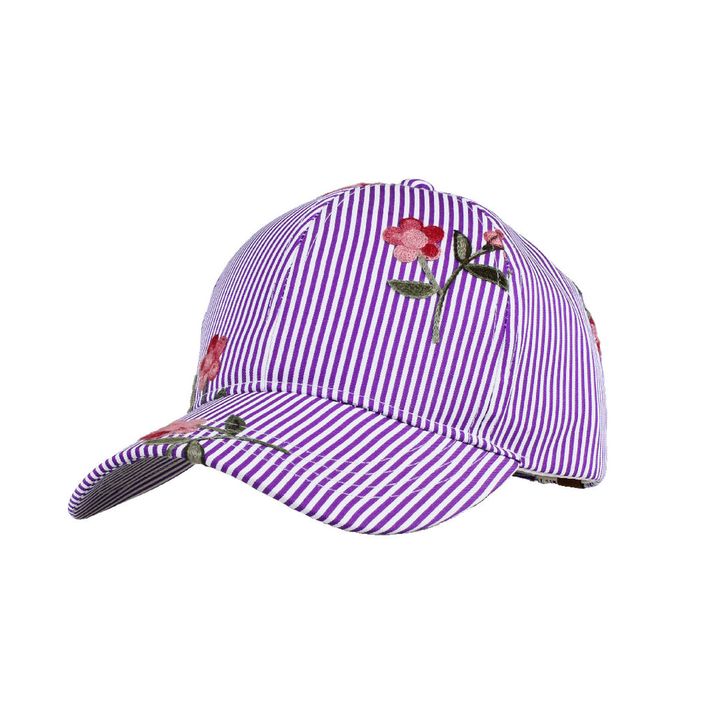 Stripe Print with Floral Embroidered CC Ball Cap