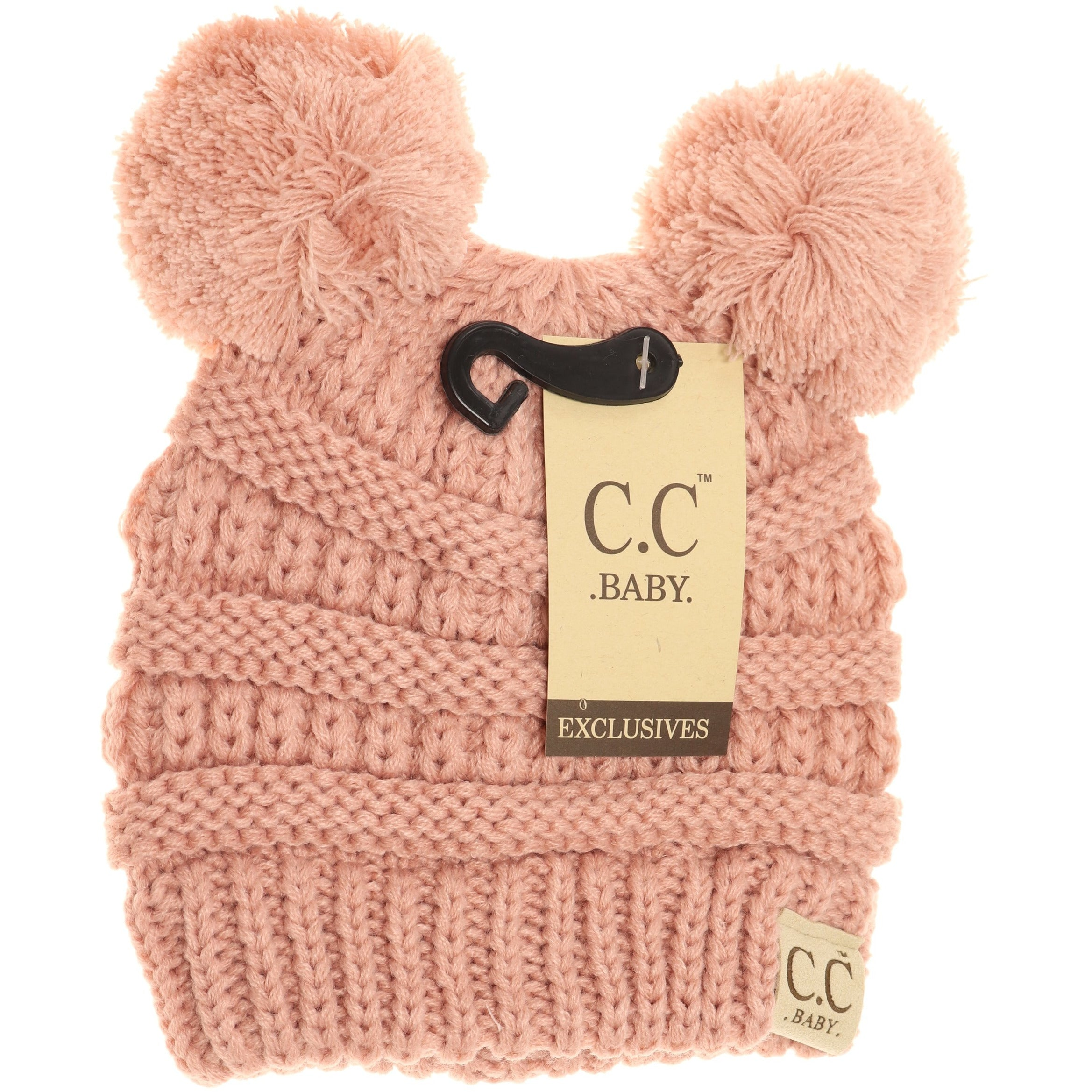 Monogrammed Baby CC Beanie Solid Double Pom Infant Winter Hat