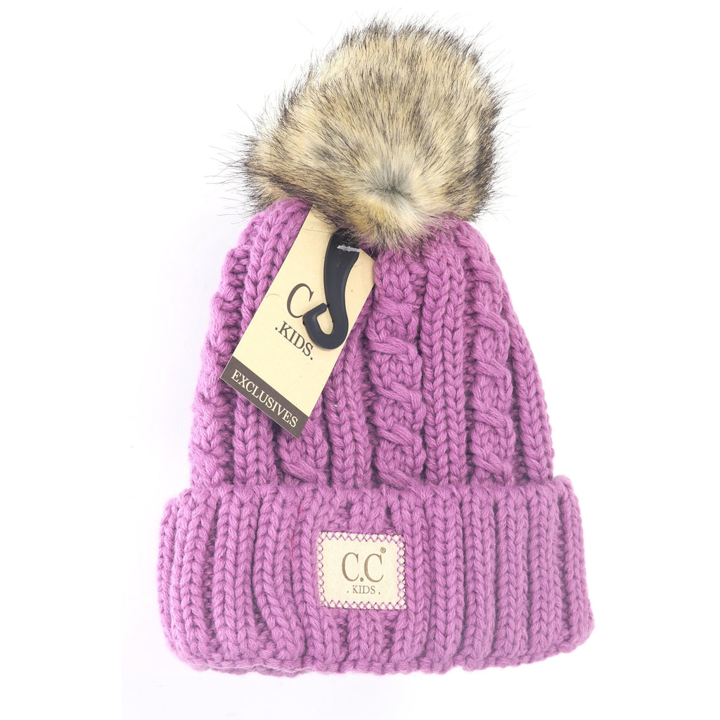 KIDS Cable Ribbed Fur Pom Beanie KIDS2031