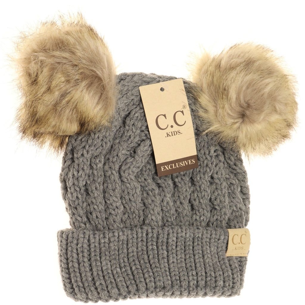 KIDS Cable Knit Double Fur Pom Beanie KIDS2055