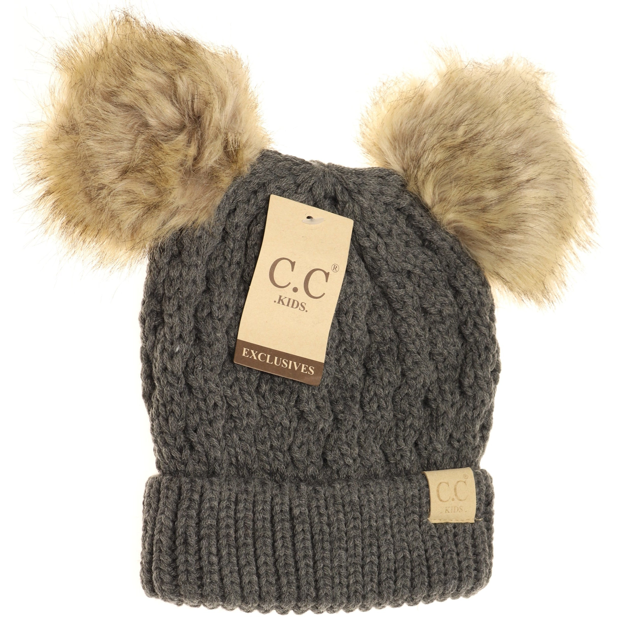 CC Kids Beanies Double Pom Pom Cable Knit Toboggan 3 To Choose From XS//S NWT