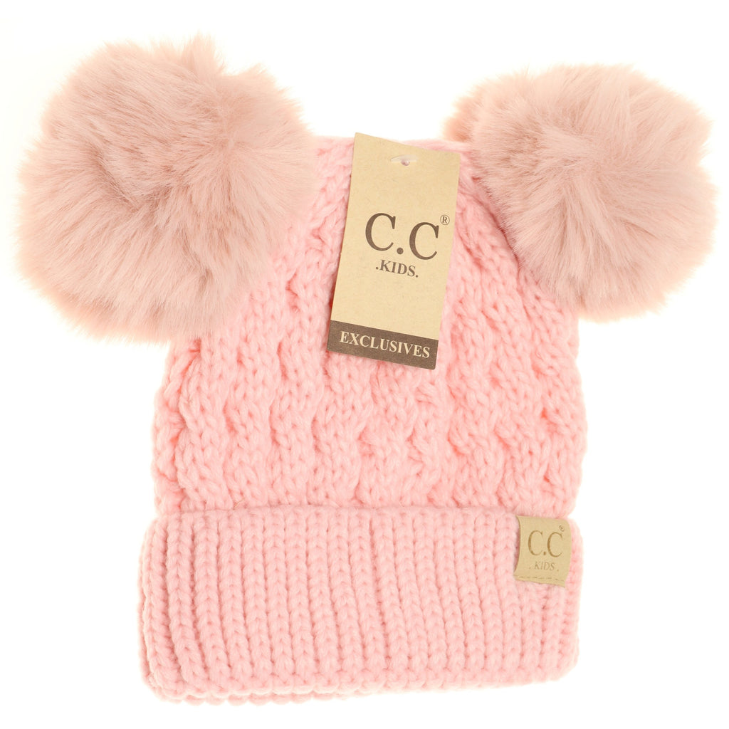 KIDS Cable Knit Double Matching Pom Beanie KIDS2055-S