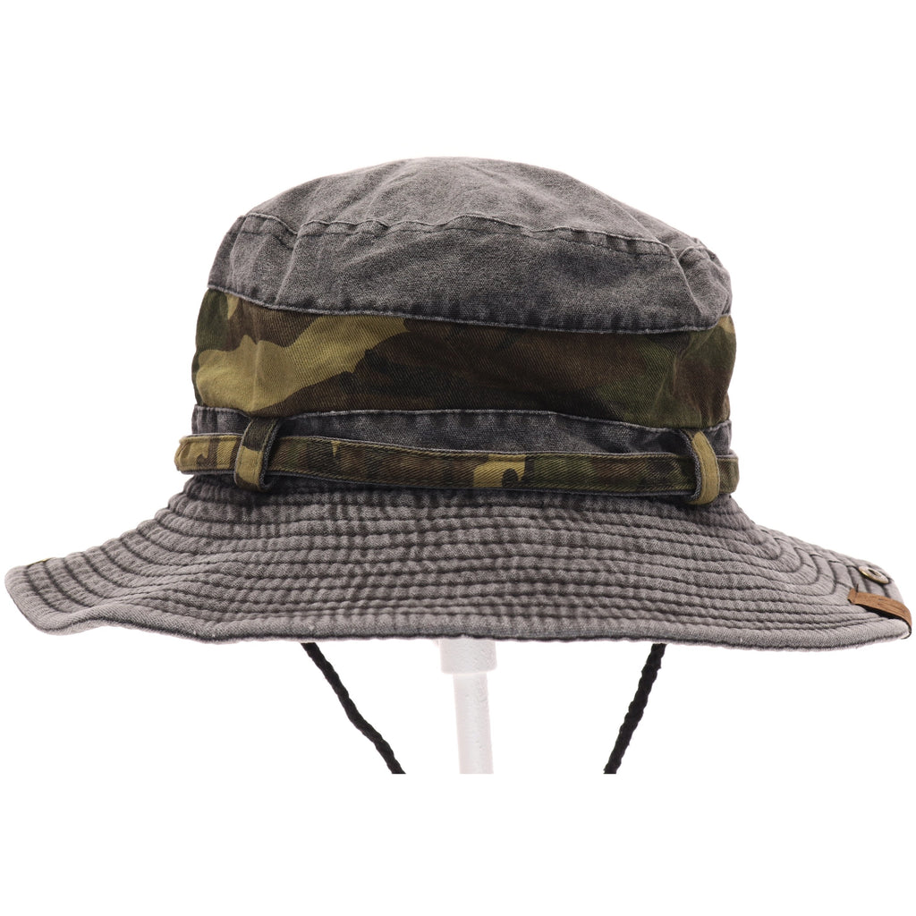 Washed Camo Trim Bucket Hat BK931