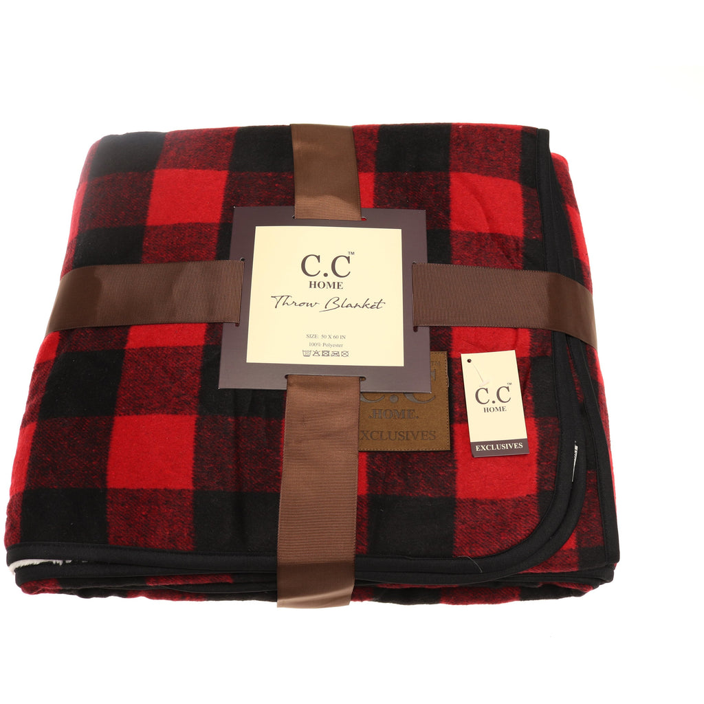 CC Buffalo Check Sherpa Lined Throw Blanket BL3