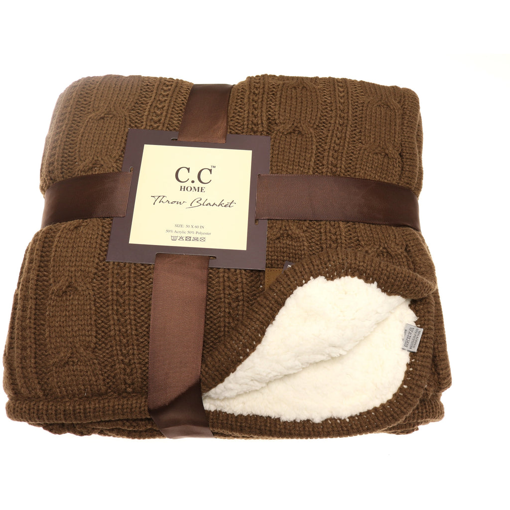 CC Chunky Cable Knit Sherpa Lined Throw Blanket BL1