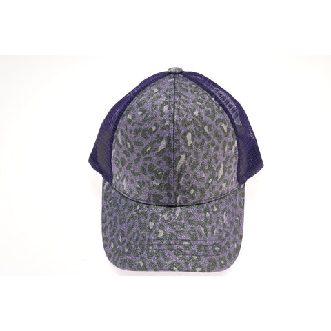 aaf564dc204 Leopard Glitter High Ponytail CC Ball Cap BT11