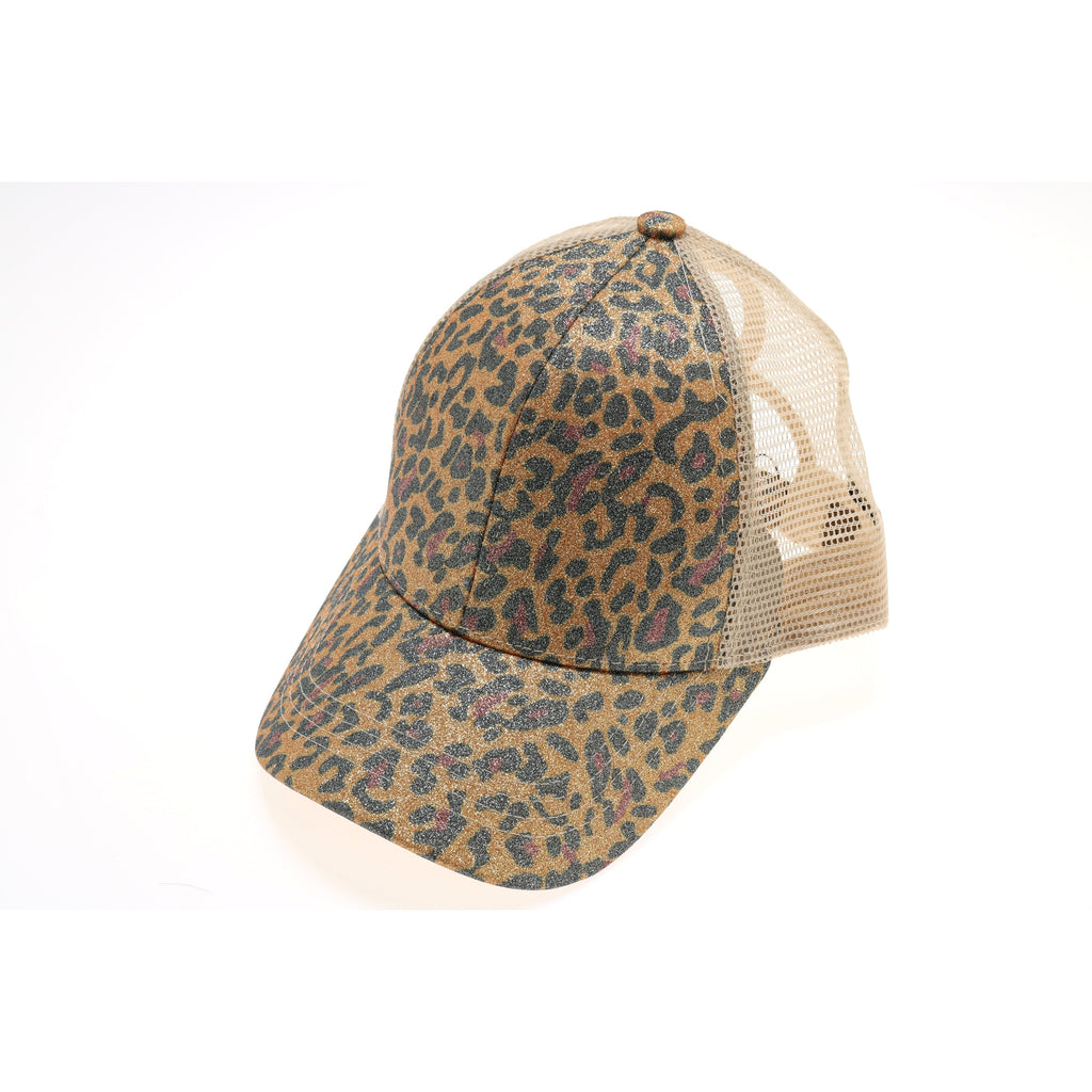 Leopard Glitter High Ponytail CC Ball Cap BT11