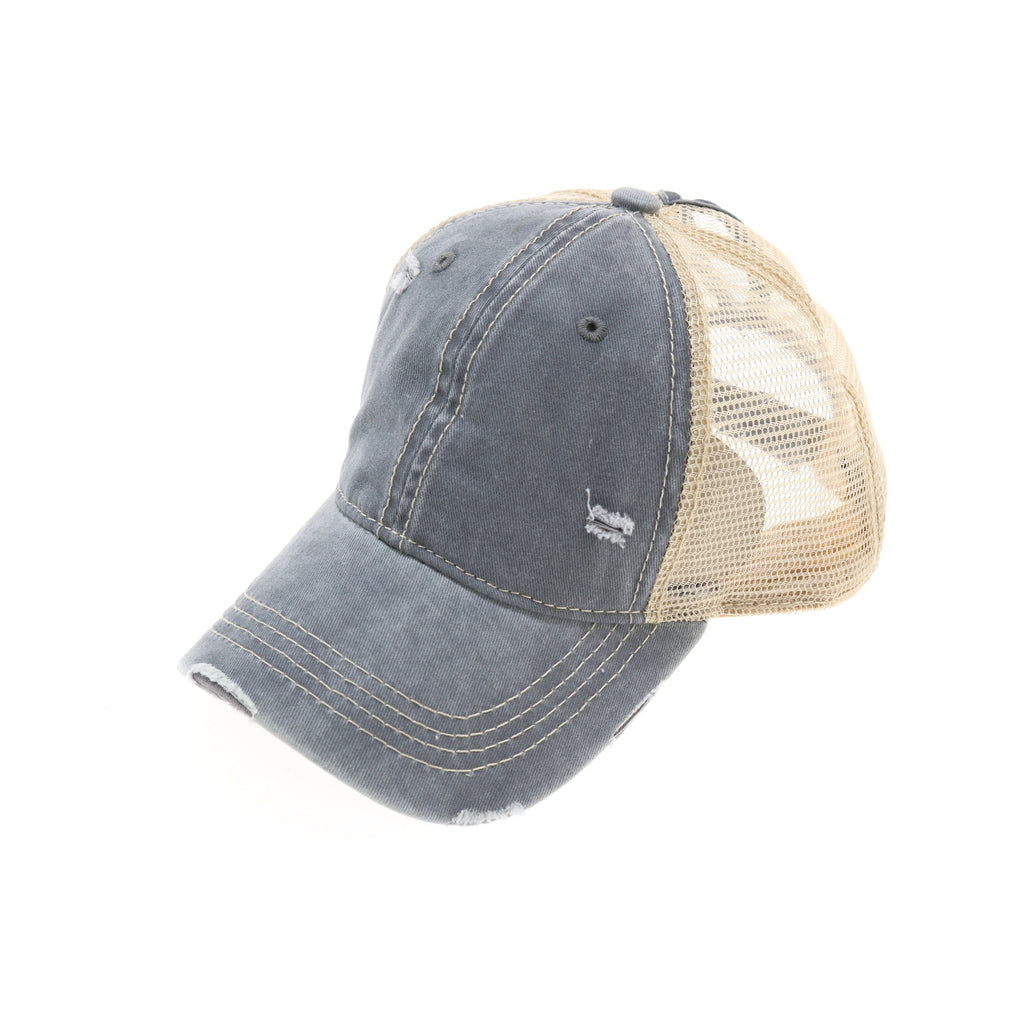 Washed Mesh Back High Pony CC Ball Cap BT12