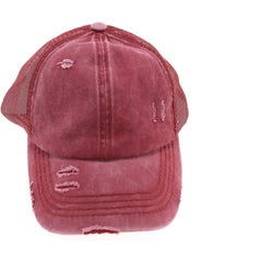 Distressed Mesh Back High Pony CC Ball Cap BT13